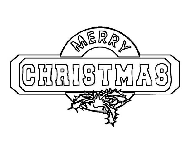 Christmas, : Gorgeous Christmas Sign Board on Christmas Coloring Page