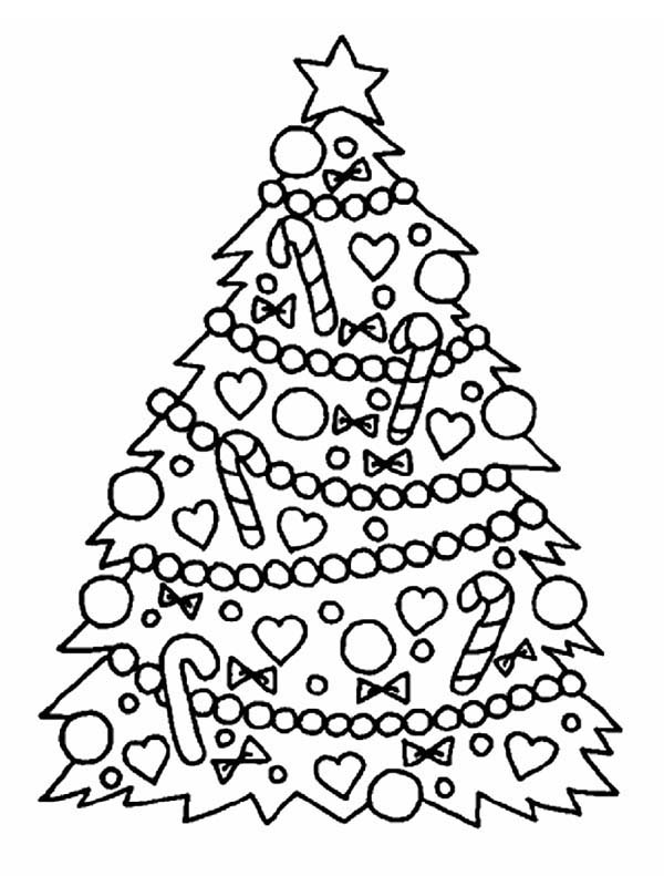 Christmas, : Gorgeous Christmas Tree on Christmas Coloring Page