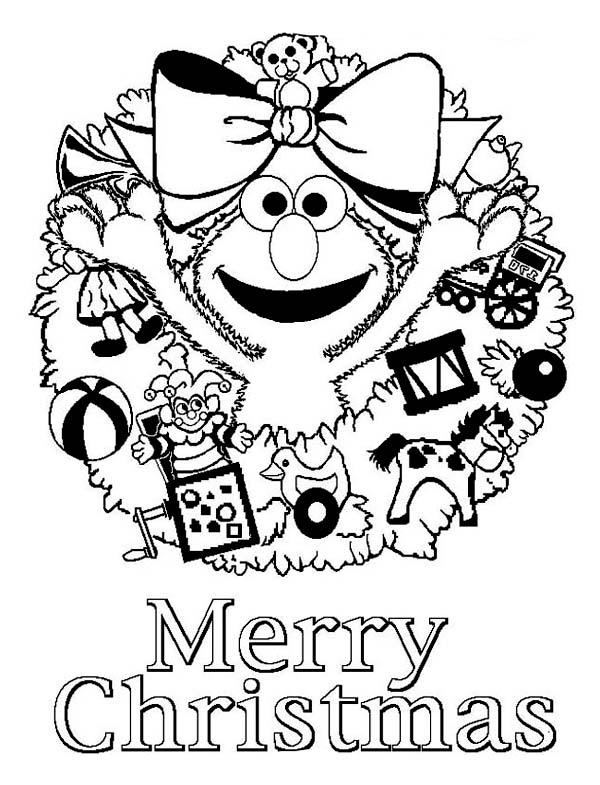 christmas happy merry christmas from elmo on christmas coloring page