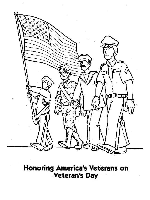Honoring US Veterans by Celebrating Veterans Day Coloring Page