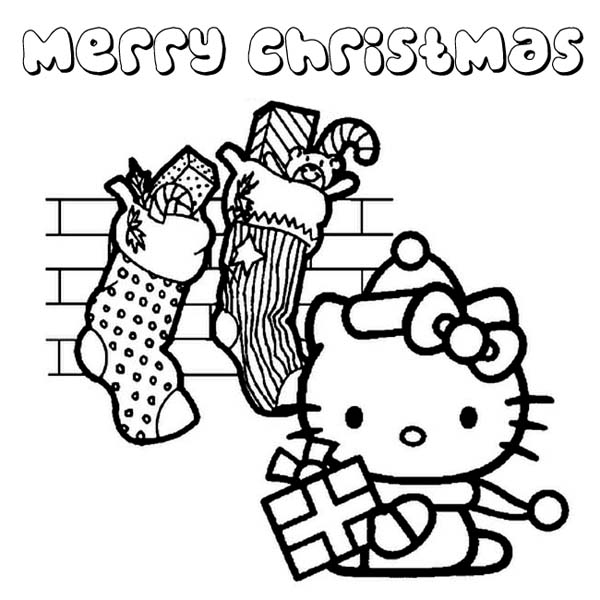 christmas lots of christmas presents from santa claus for hello kitty on christmas coloring