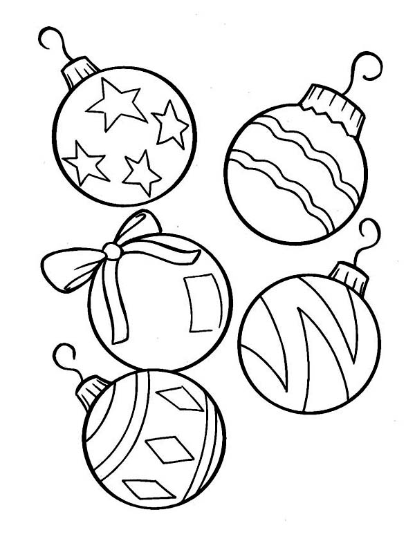 lovely christmas ball ornaments for christmas tree on christmas coloring page - Christmas Ornament Coloring Page