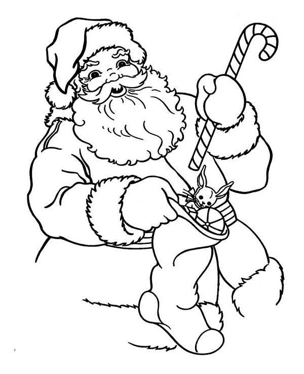 santa claus holding a candy cane and christmas stocking on christmas coloring page - Candy Canes To Color