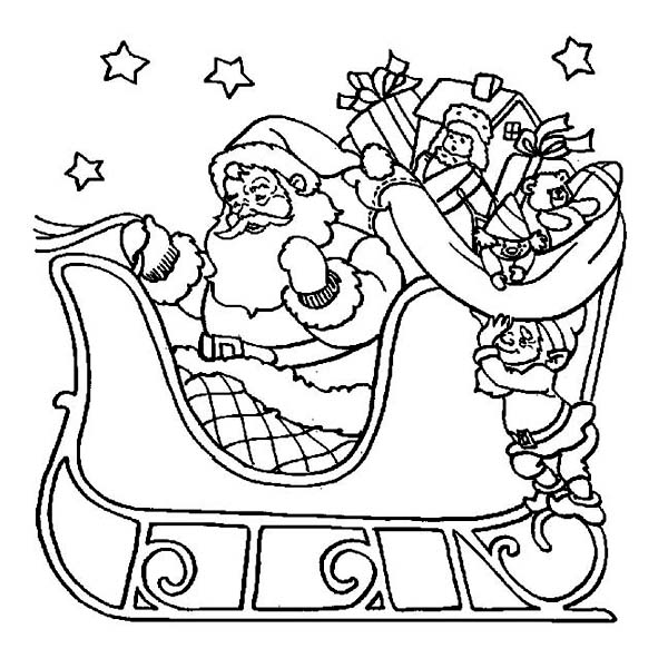 Christmas, : Santa Claus Riding His Sleigh on Christmas Coloring Page