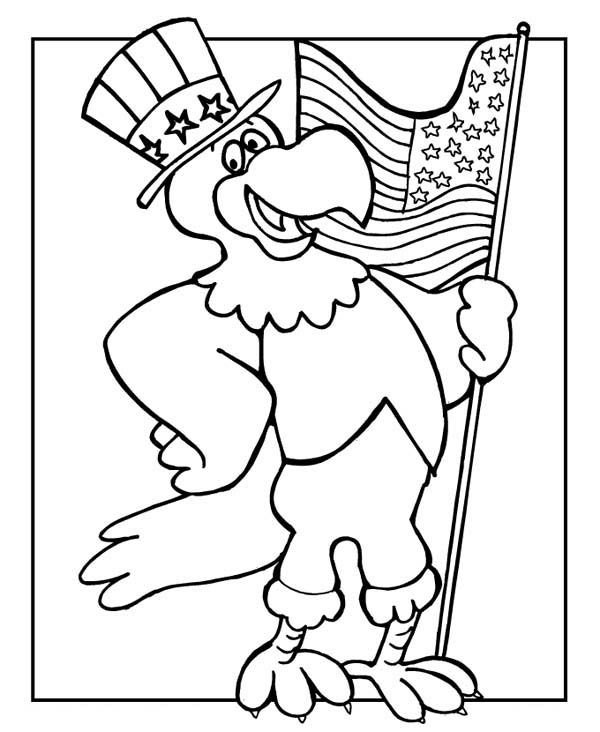 The Eagle Holding US Flag Celebrating Veterans Day Coloring Page