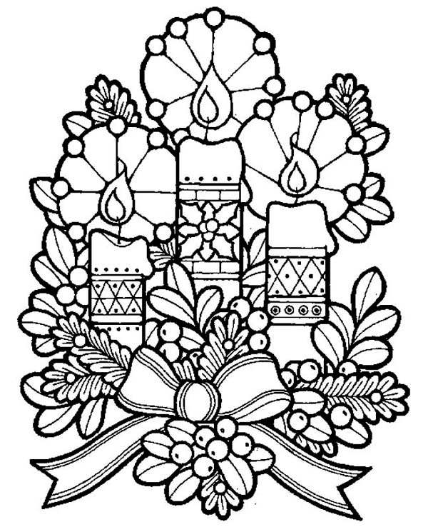 Christmas Three Lovely Candles For Eve On Coloring Page