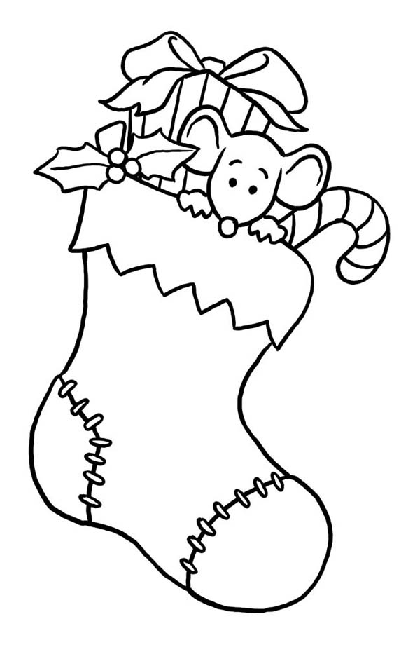 Christmas, : Tiny Mouse Hidding on Christmas Stocking on Christmas Coloring Page