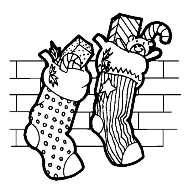 Two Christmas Stocking Full of Candy on Christmas Coloring Page