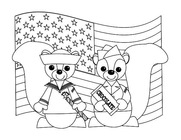 Two Cute Chipmunks in Uniform Celebrating Veterans Day Coloring Page ...