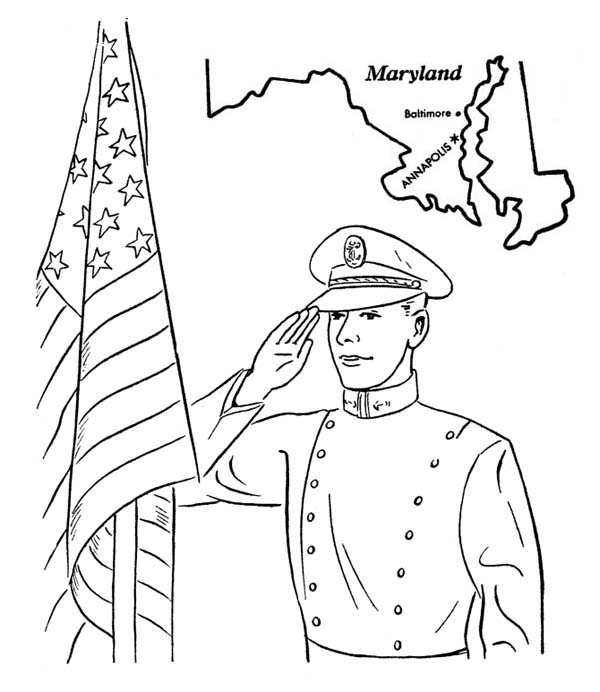 Veterans Day, : US Naval Academy in Maryland Celebrating Veterans Day Coloring Page