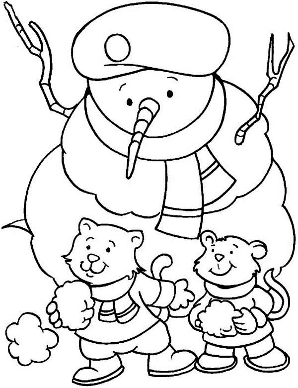 A Couple Of Young Little Cat Wearing Boy Scout Hat On Winter Season Coloring Page