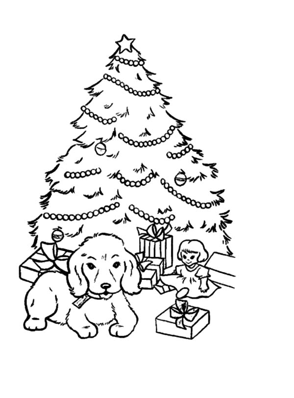 a puppy sitting in front of christmas trees coloring pages - Christmas Trees Coloring Pages