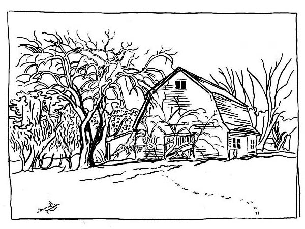 A Typical Coutryside Barn on Winter Season Coloring Page Color Luna
