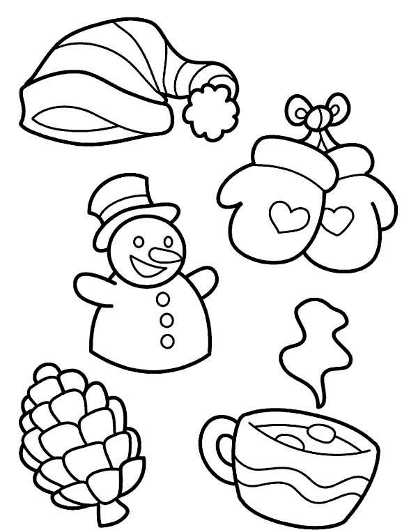 All Kind of Winter Season Symbols Coloring Page   Color Luna