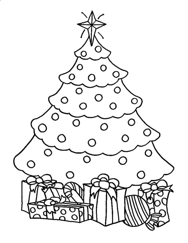 Artificial Christmas Trees With Presents Coloring Pages