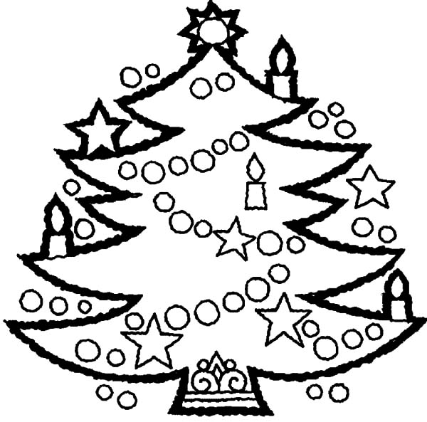 Awesome Christmas Trees Decorated With Candles Coloring Tree With Candles Coloring Page