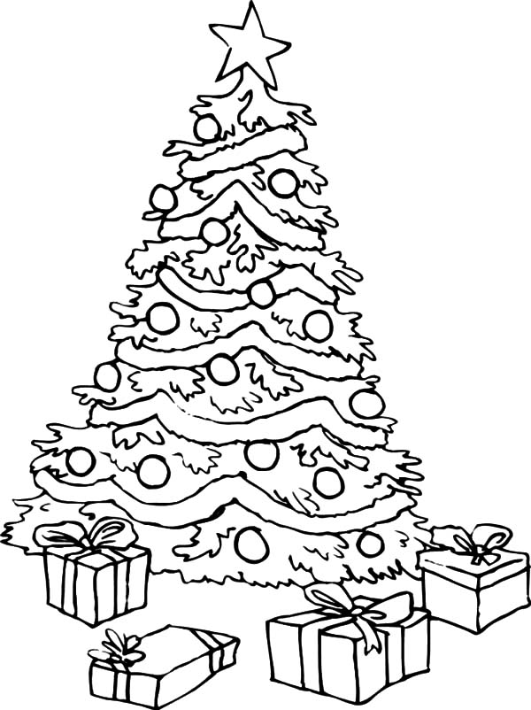 Big Christmas Trees And Presents Coloring Pages