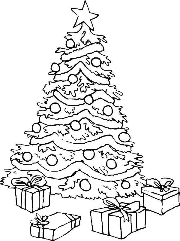 Large Christmas Tree Coloring Sheet  Coloring Pages