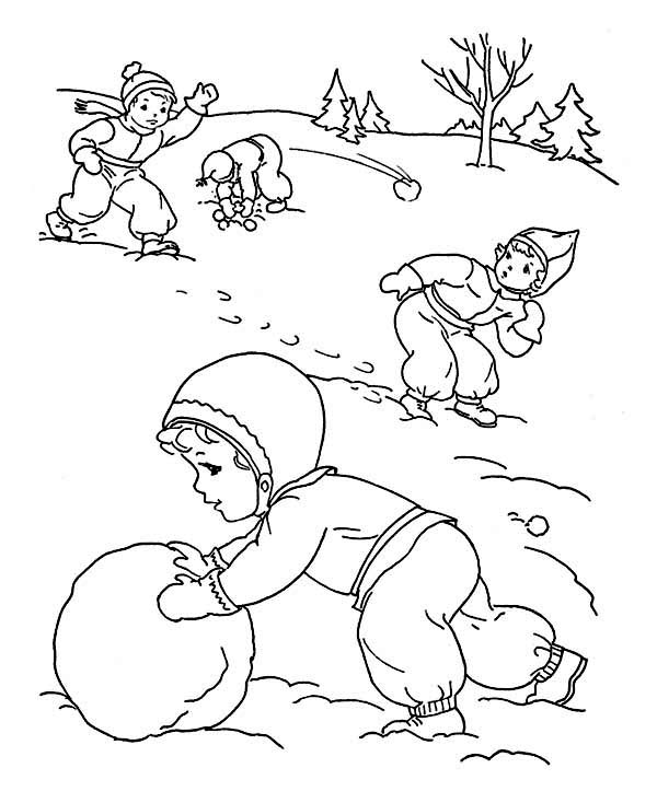Mr Snowman On Christmas Touching A Snowflake Coloring Page: Childrens Outdoor Activities On Winter Season Coloring