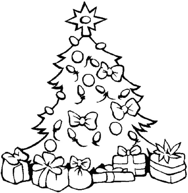 Christmas Trees Decorated With Lamp Coloring Pages
