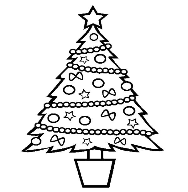 One Christmas Trees and One Christmas Gift Coloring Pages Color Luna
