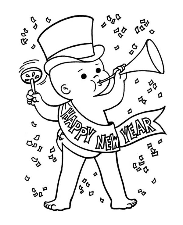 Cute Baby New Years Eve In Action On 2015 Year Coloring Page