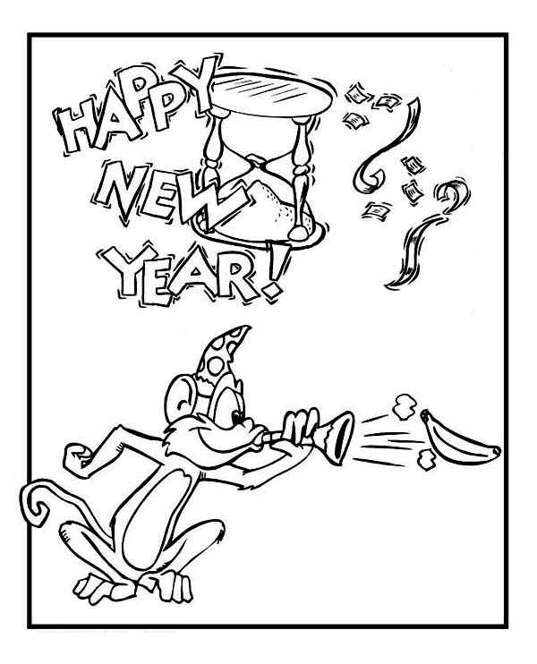 Cute Monkey On New Years Eve Celebration 2015 Year Coloring Page