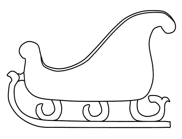 santa and sleigh coloring pages - fancy santas sleigh for winter season events coloring page