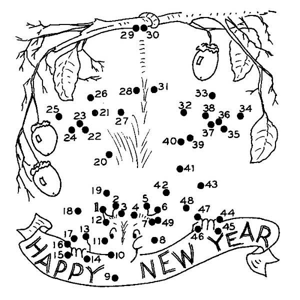 Finish The Dot On 2015 New Year Coloring Page
