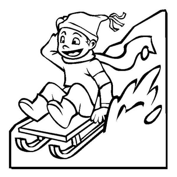 Happy Kid Slidding on Winter Season Sled Coloring Page Color Luna
