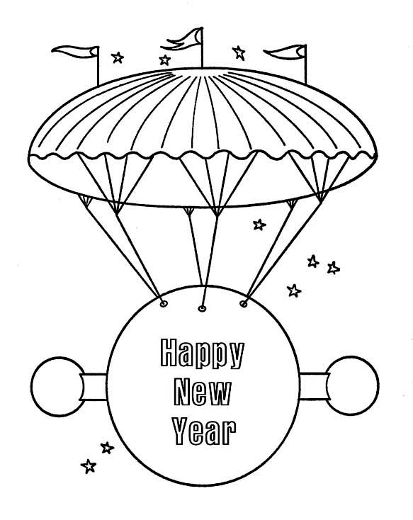 Happy New Year Message On Flying Board For 2015 Coloring Page