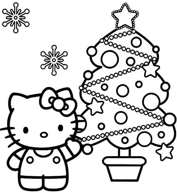 Hello Kitty Show Us Her Beautiful Christmas Trees Coloring Pages ...