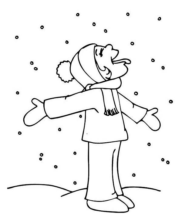 Hilarious Kid Tasting Snow on Winter Season Coloring Page Color Luna