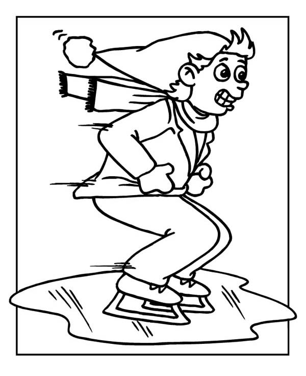 Ice Skating on Frozen Lake Coloring Page Color Luna
