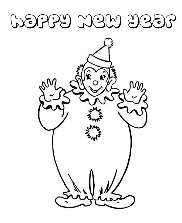 Joyful And Happy New Years Says The Clown On 2015 Year Coloring Page
