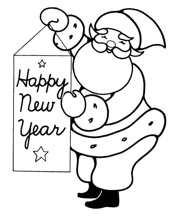 Joyful and Happy Santa Greetings on 2015 New Year Coloring Page