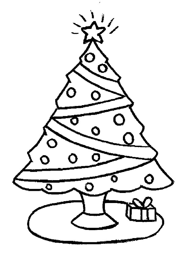 Christmas trees and one christmas gift coloring pages one christmas