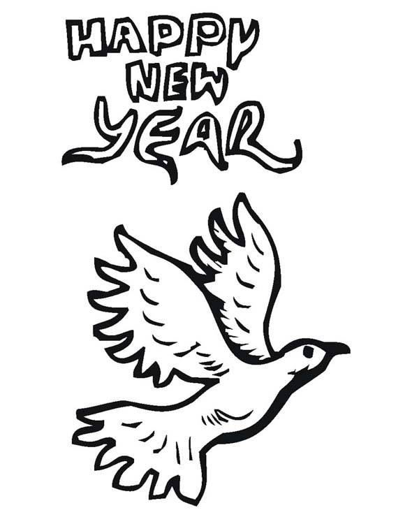 Pigeon Says Joyful And Happy 2015 New Year Coloring Page Cute Monkey On Years Eve Celebration
