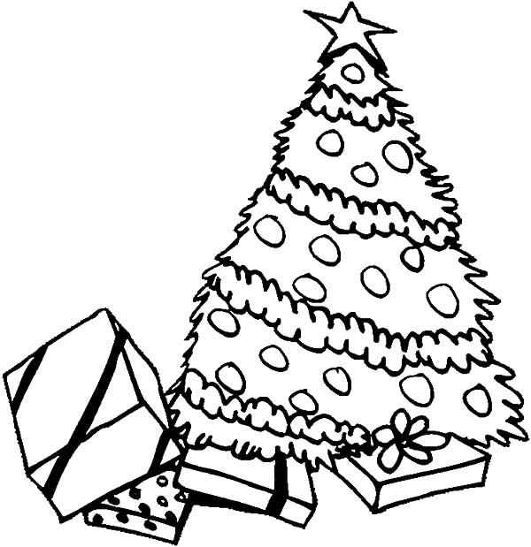 christmas trees pile of presents under christmas trees coloring pages