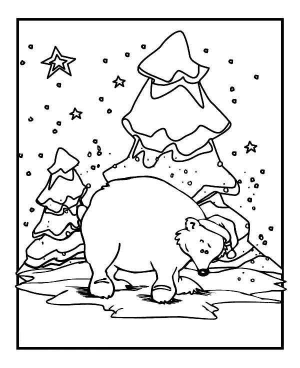 Mr Snowman On Christmas Touching A Snowflake Coloring Page: Polar Bear Wearing Santas Hat On Winter Season Coloring