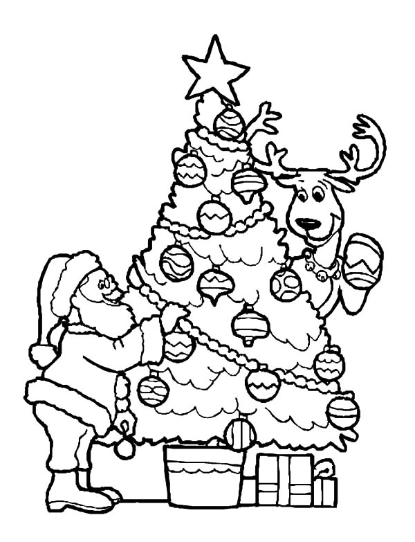 Santa Claus And His Deer Decorating Christmas Trees Decorated Tree Coloring Page