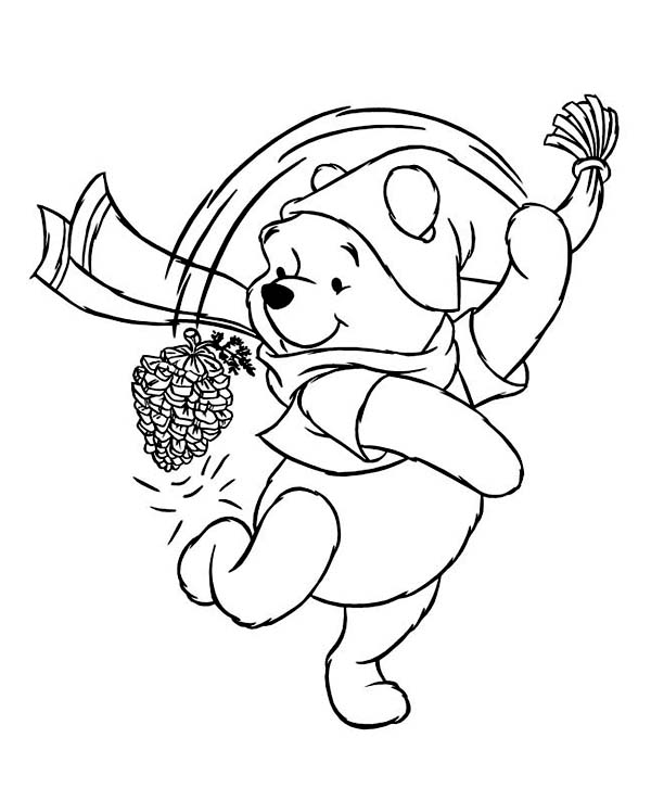 Mr Snowman On Christmas Is Getting Cold Coloring Page: Winnie The Pooh Playing With Cone Pine On Winter Season