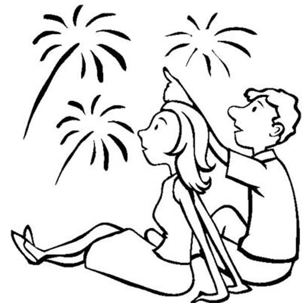amazing fireworks on independence day event coloring page
