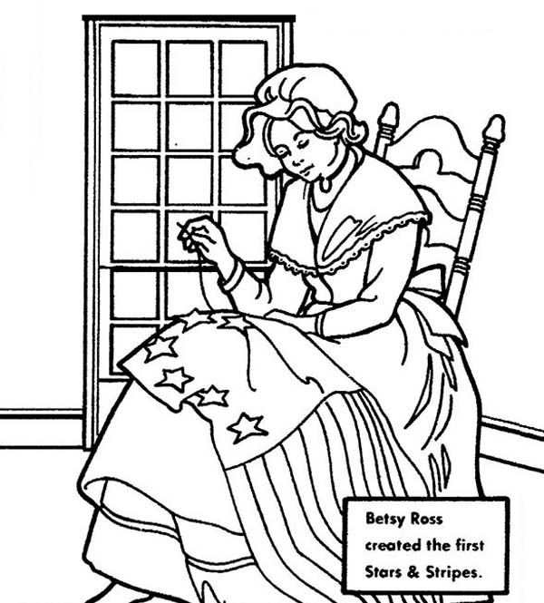 betsy ross making usa flag for independence day event coloring pages