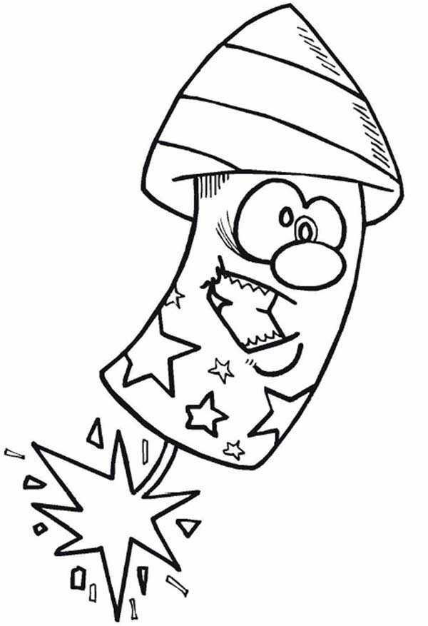 Cartoon firecrackerer on Independence Day Event Coloring Page ...
