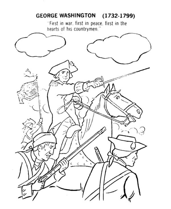 George Washington Lead USA For Independence Day Event Coloring Pages