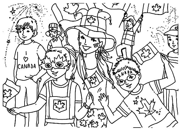 Coloring Pages For 2015 : Kids celebrating canada day 2015 on the street coloring pages