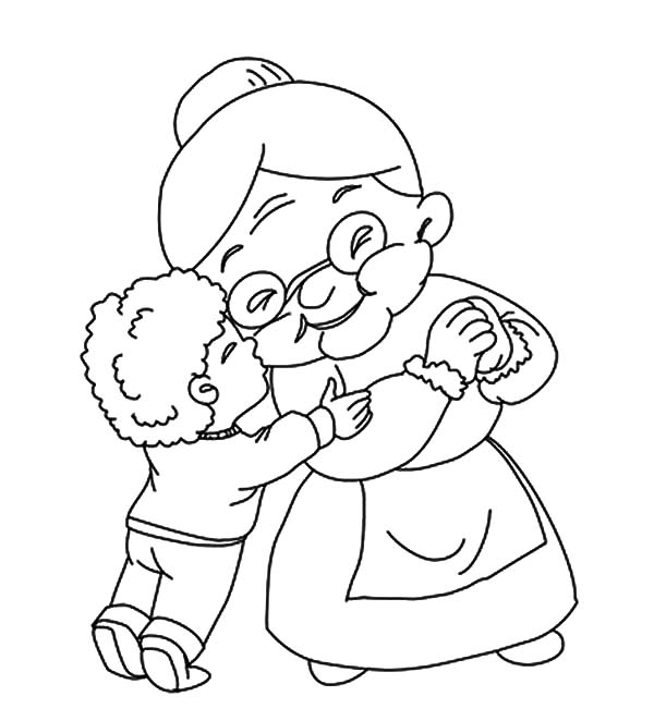 A Boy Kiss His Grandmother Coloring Pages