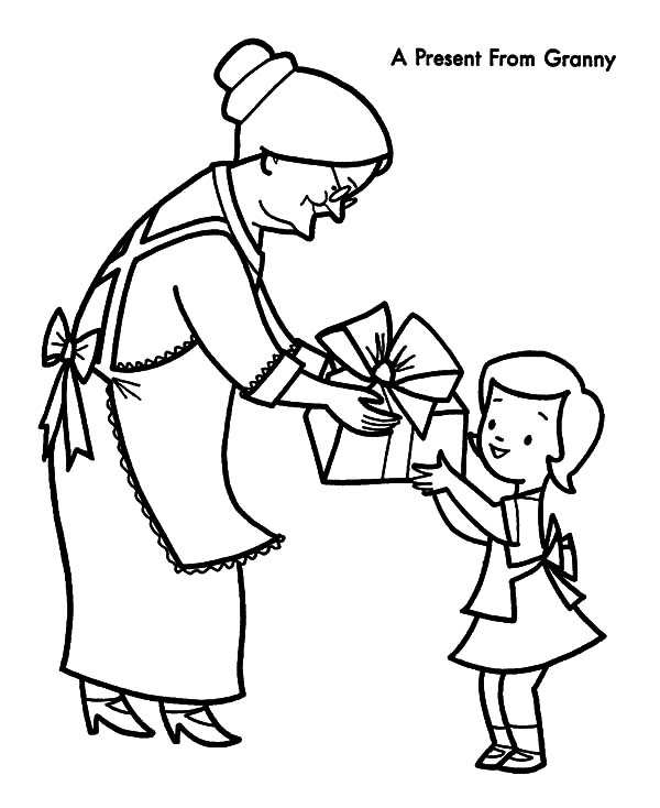Grandmother Take He Grandchild Walk Around Coloring Pages