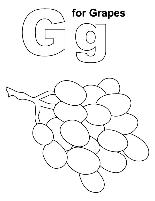 alphabet g for grapes coloring pages - Grapes Coloring Page